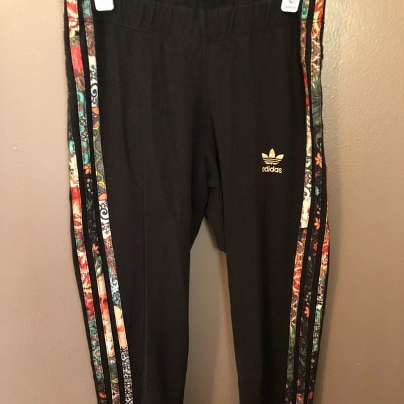 20ba39b2cd7 adidas Pants   Floral Print 3 Stripe Leggings Sz Xs   Poshmark